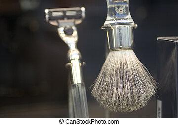 Photo of shaving brush and razor