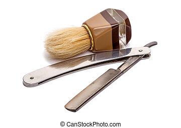 Classic Shaving brush and Straight Razor old style