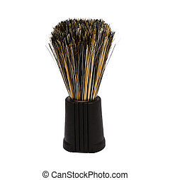 Closeup of shaving Brush isolated on white background