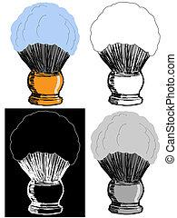 Editable vector illustrations in variations. Shaving brush