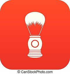 Shaving brush icon digital red