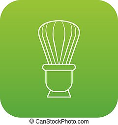 Shaving brush icon green vector