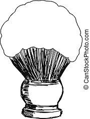 shaving brush - hand drawn, sketch, cartoon illustration of...