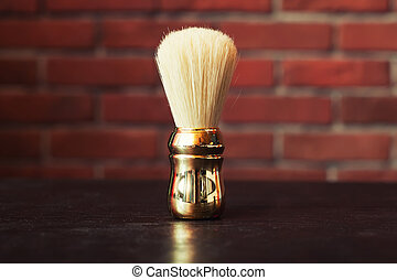 Shaving brush on the table