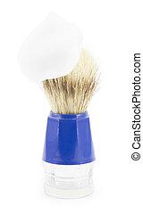 shaving brush shaving isolated on white background