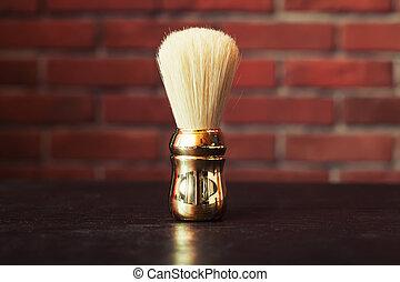 Shaving brush on the table