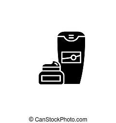 Shaving cream black icon concept. Shaving cream flat vector...