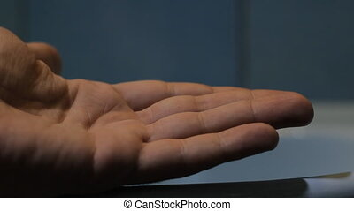 shaving cream hand close up