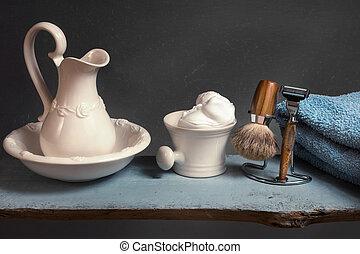 vintage Shaving Equipment on blue wooden Table
