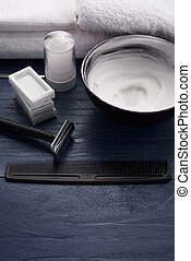 shaving means for men in beauty salon