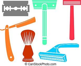 shaving razor and brush icons