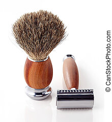 Shaving razor and brush