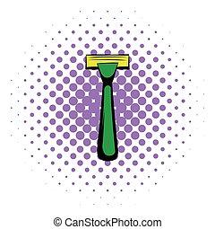 Shaving razor icon, comics style