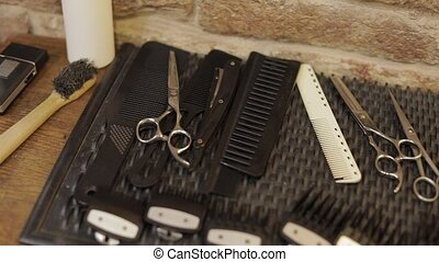 Shaving set with equipment, tools and foam, barber shop,...