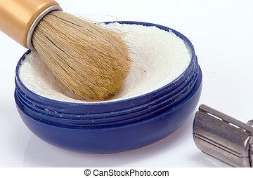shaving - old shaving set on white background