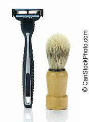 Shaving Time - Shaving items isolated against a white...
