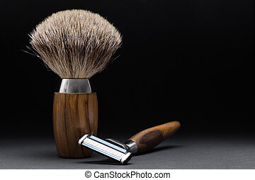 Shaving Tool on wooden Table and black Background