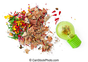 Shavings and sharpener