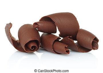 shavings chocolate, fundo, branca