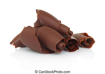 shavings chocolate, plano de fondo, blanco