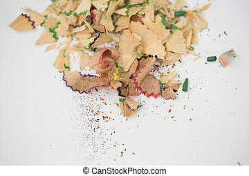 Shavings of pencil isolated on white background