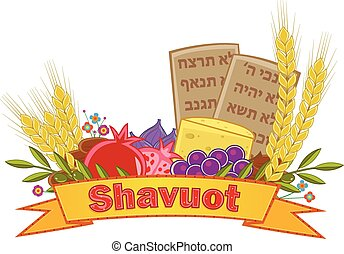 Shavuot Banner - Shavuot festive banner with the seven...