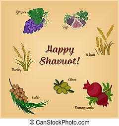shavuot, inscrição, sete, jogo, espécie