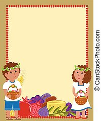 Shavuot kids Blank Sign - Shavuot blank sign with a boy and...