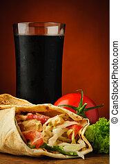 Shawarma and cola