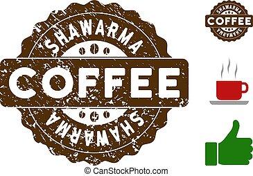 Shawarma Badge Stamp with Grunge Surface