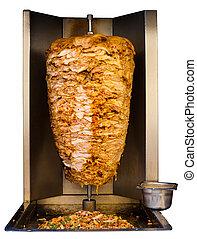 shawarma, carne, cottura, arabo, cotto ferri, bianco, pollo