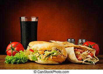 shawarma, kebab, turco