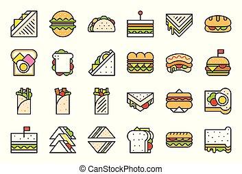 Shawarma sandwich, hotdog, taco, burger, fast food filled outline icon