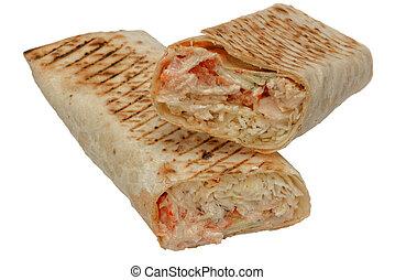 shawarma, taglio, tortilla, o, burritos