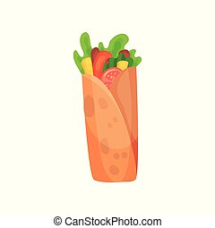 Shawarma with meat and fresh vegetables vector Illustration on a white background