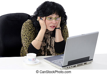 She does not understand online lesson - Mature woman does...