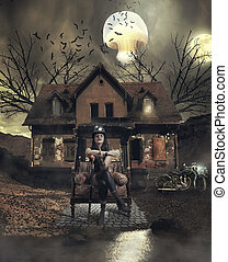 She is the mistress of the grim house with the bats