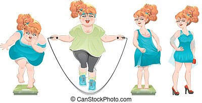 She lost weight. Set weight loss woman, before after. ...