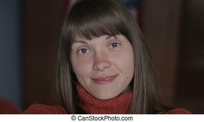 She makes video selfie