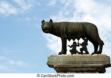 She-wolf breast-feed Romulus and Remus. Place of foundation...