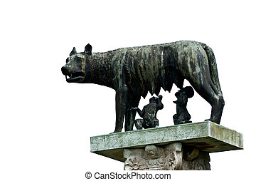 She-wolf breast-feed Romulus and Remus. Pisa. Italy.