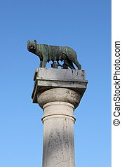 She-wolf suckling Romulus and Remus, the twin founders of...