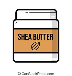 Shea butter jar with nuts logo background isolated - Shea...
