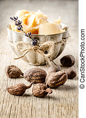 Shea nuts and butter - shea nuts with a cup of shea butter....