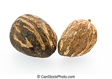 Shea Nuts isolated - Two shea nuts used for cosmetic...