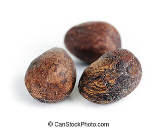 Shea nuts - Raw unprocessed shea nuts isolated on white...
