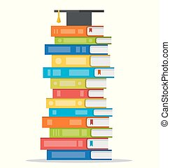 Sheaf of colorful books with square academic cap on top of it. Vector flat design style illustration