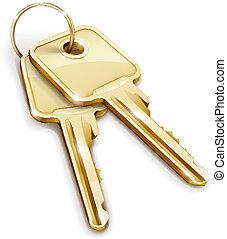 Sheaf of gold keys - Sheaf of two golden keys. Vector...