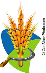 Sheaf of wheat and sickle. Vector illustration. EPS 8, AI, ...