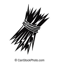 Sheaf of wheat icon in black simple silhouette style vector illustration for design